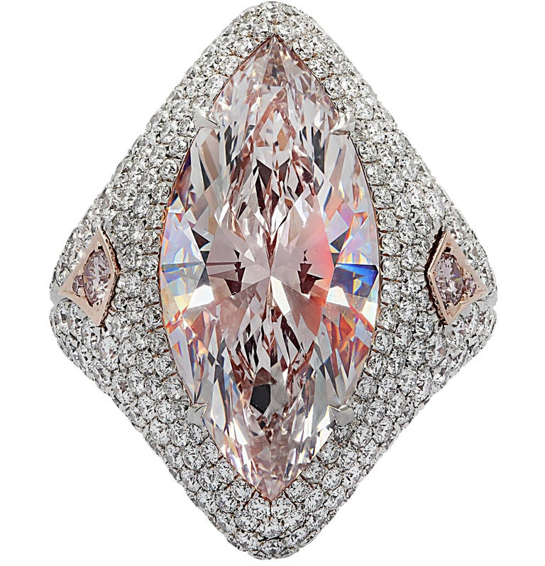 Modern Vivid Diamonds GIA Certified 9.97 Carat Pink Marquise Cut Diamond Ring For Sale
