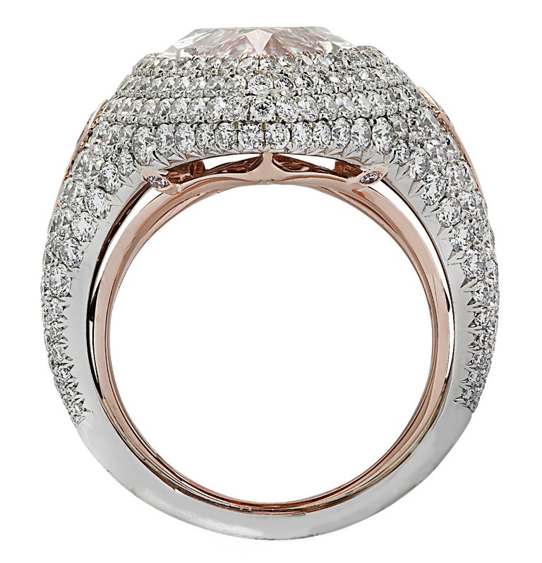 Women's Vivid Diamonds GIA Certified 9.97 Carat Pink Marquise Cut Diamond Ring For Sale