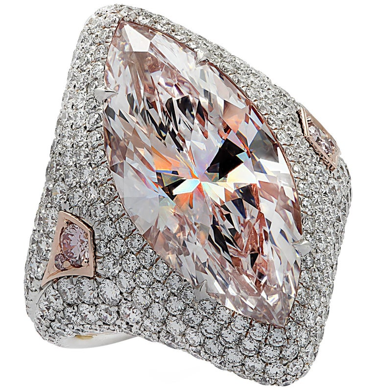 Vivid Diamonds GIA Certified 9.97 Carat Pink Marquise Cut Diamond Ring For Sale 1