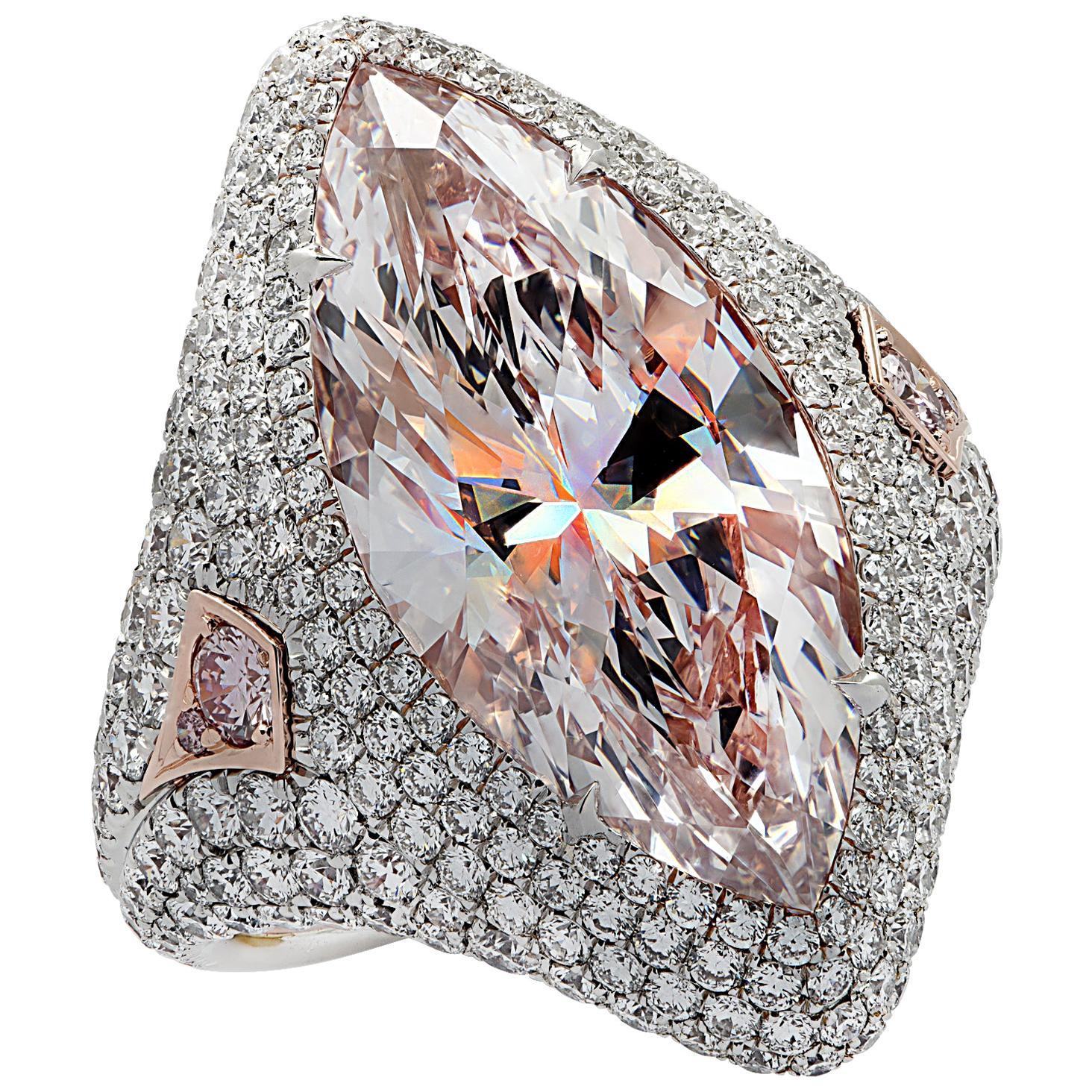 Vivid Diamonds GIA Certified 9.97 Carat Pink Marquise Cut Diamond Ring
