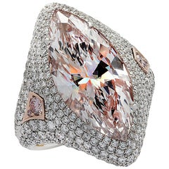 Vivid Diamonds GIA Certified 9.97 Carat Pink Marquise Cut Diamond Ring