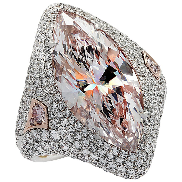 Vivid Diamonds GIA Certified 9.97 Carat Pink Marquise Cut Diamond Ring For Sale
