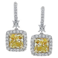 Vivid Diamonds GIA Certified Yellow Diamond Dangle Earrings