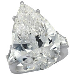 Vivid Diamonds GIA Graded 16.96 Carat Pear Shape Diamond Engagement Ring