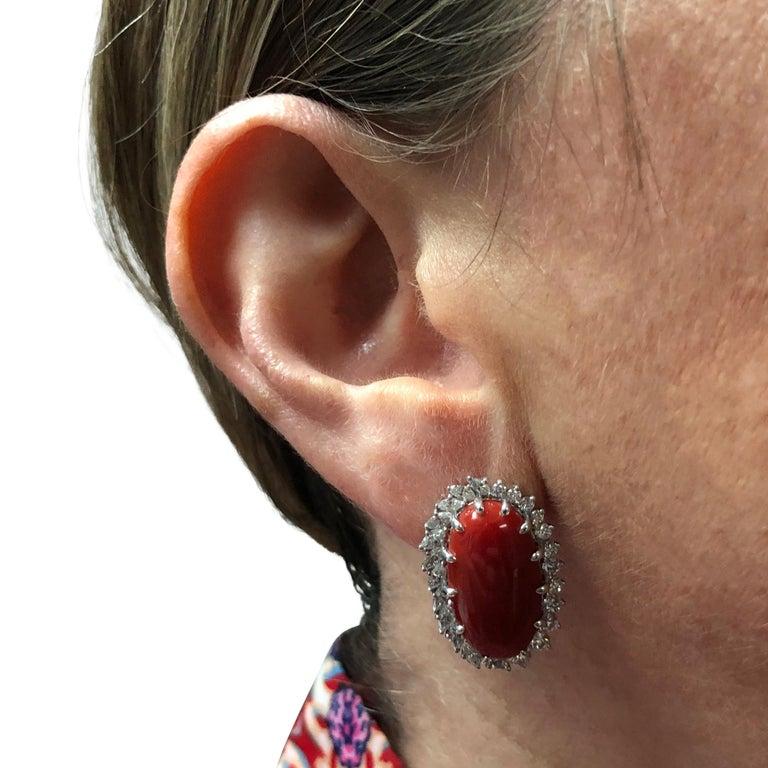 Modern Vivid Diamonds Ox Blood Coral and Diamond Earrings For Sale
