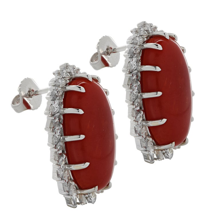 Oval Cut Vivid Diamonds Ox Blood Coral and Diamond Earrings For Sale