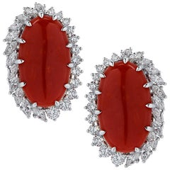 Vivid Diamonds Ox Blood Coral and Diamond Earrings