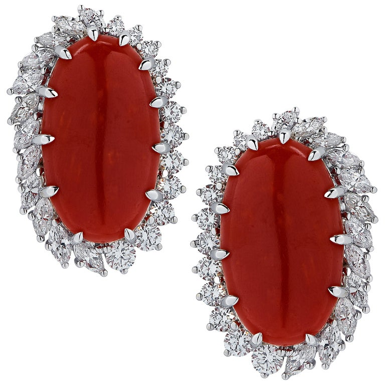 Vivid Diamonds Ox Blood Coral and Diamond Earrings For Sale