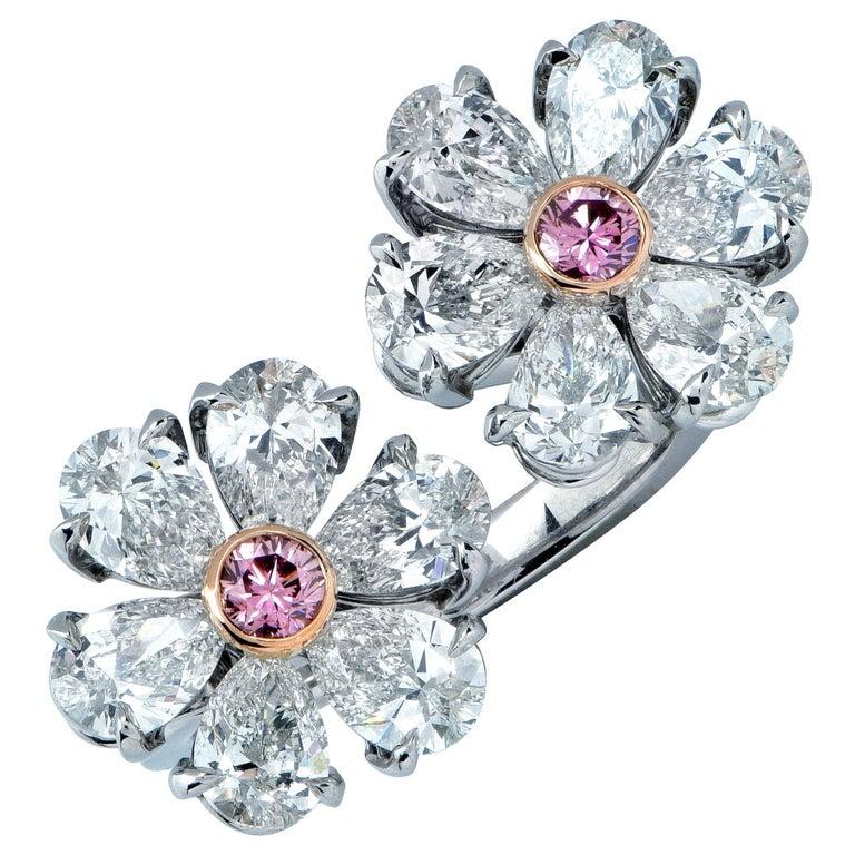 Vivid Diamonds Pink and White Diamond Platinum Bypass Ring For Sale