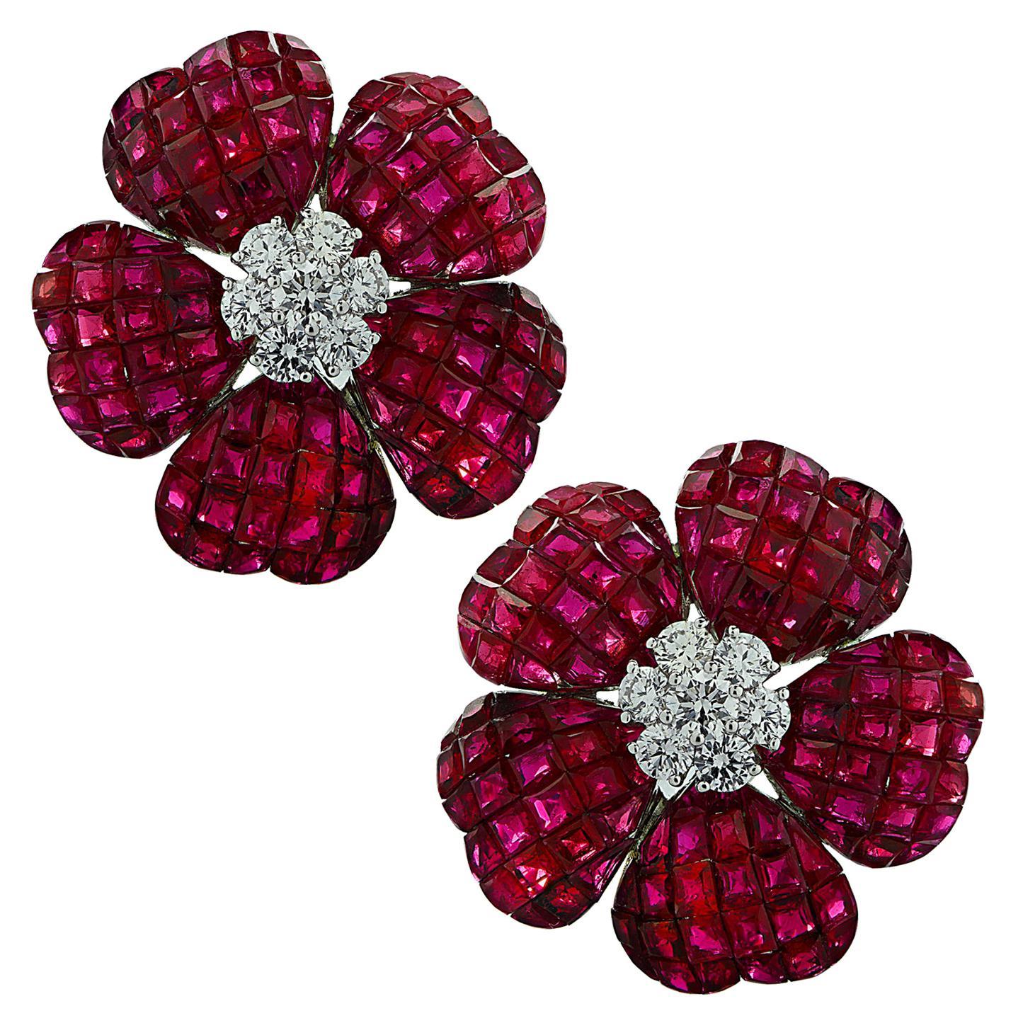 Vivid Diamonds Ruby and Diamond Flower Stud Earrings