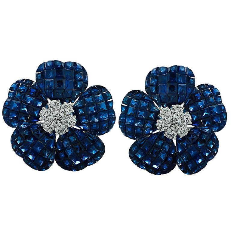 Modern Vivid Diamonds Sapphire and Diamond Flower Earrings For Sale