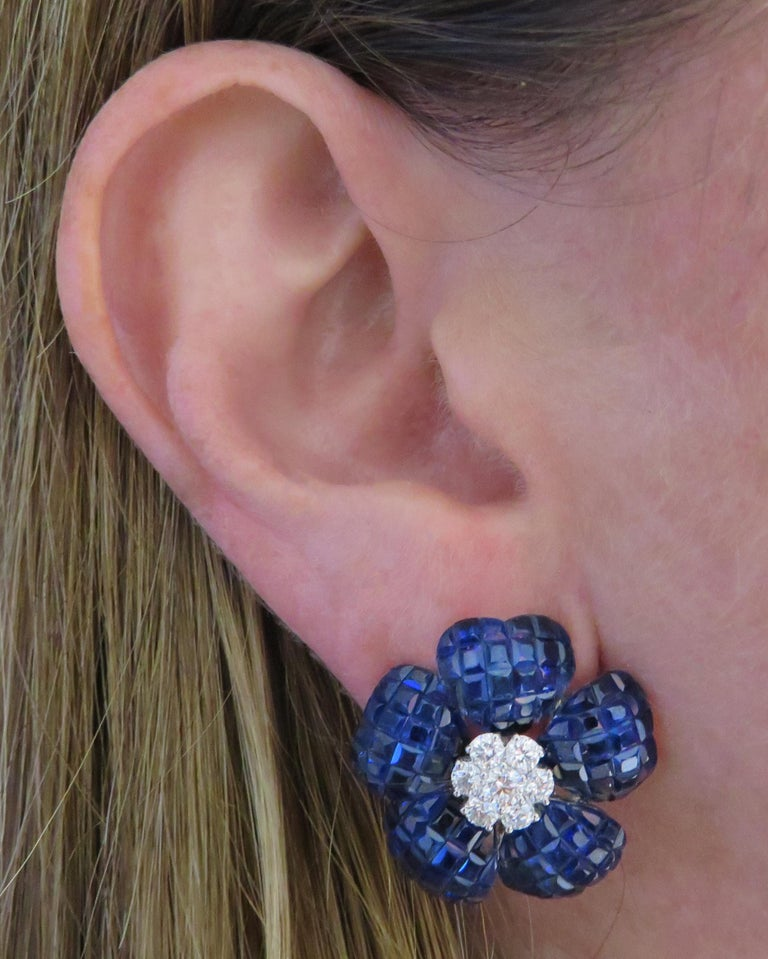 French Cut Vivid Diamonds Sapphire and Diamond Flower Earrings For Sale