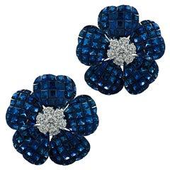 Vivid Diamonds Sapphire and Diamond Flower Earrings