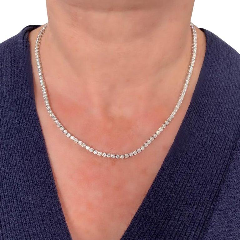Modern Vivid Diamonds Straight Line 11.47 Carat Diamond Necklace For Sale