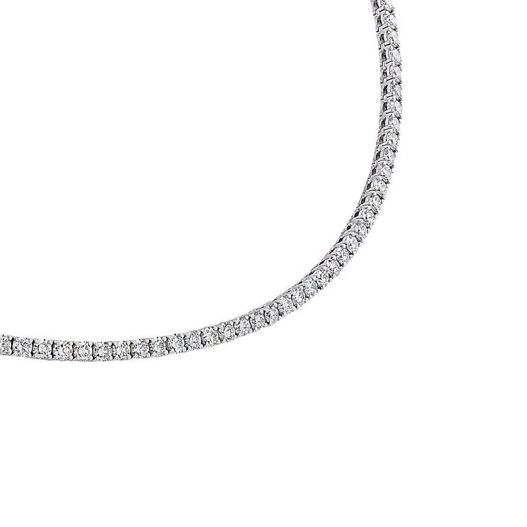 Round Cut Vivid Diamonds Straight Line 11.47 Carat Diamond Necklace For Sale