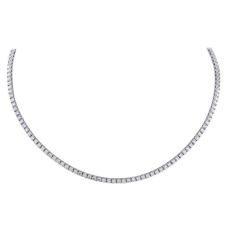 Vivid Diamonds Straight Line 11.47 Carat Diamond Necklace For Sale