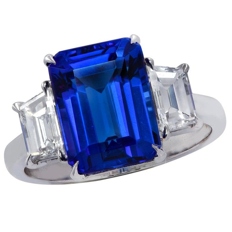 Vivid Diamonds Tanzanite and Diamond Three-Stone Ring For Sale