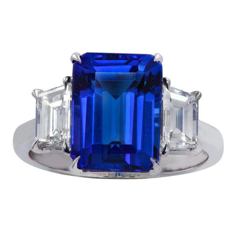 Modern Vivid Diamonds Tanzanite and Diamond Three-Stone Ring For Sale