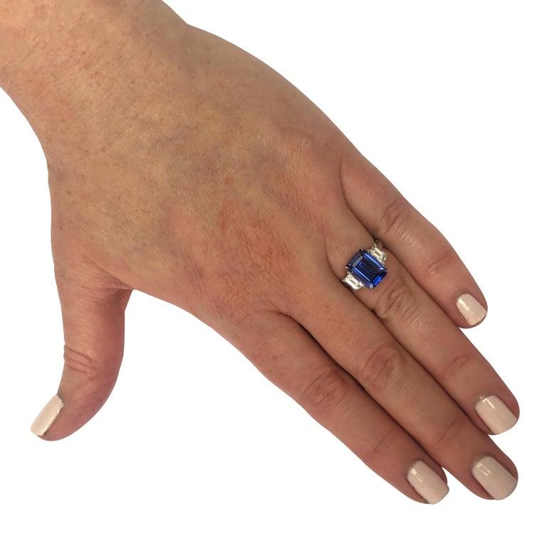 Emerald Cut Vivid Diamonds Tanzanite and Diamond Three-Stone Ring For Sale