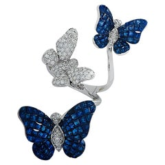 Vivid Diamonds Thee Butterfly Sapphire and Diamond Ring