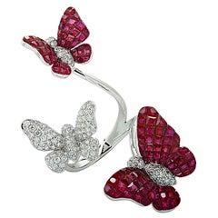 Vivid Diamonds Three Butterfly Ring Ruby and Diamond Ring