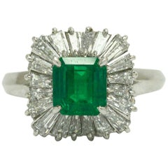 Vivid Emerald Ballerina Cocktail Ring Diamond Halo Midcentury 3 Carat Platinum