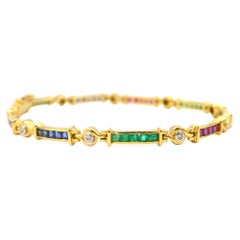 Vivid Emerald Ruby Blue Sapphire Link Bracelet with Diamonds in 18K Yellow Gold
