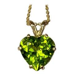 Vivid Green 2.05 Carat Peridot Heart Cut Yellow Gold Pendant Necklace