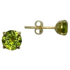 Natural Vivid Green Peridot 1.00 Carat Yellow Gold Round Cut Earring Studs