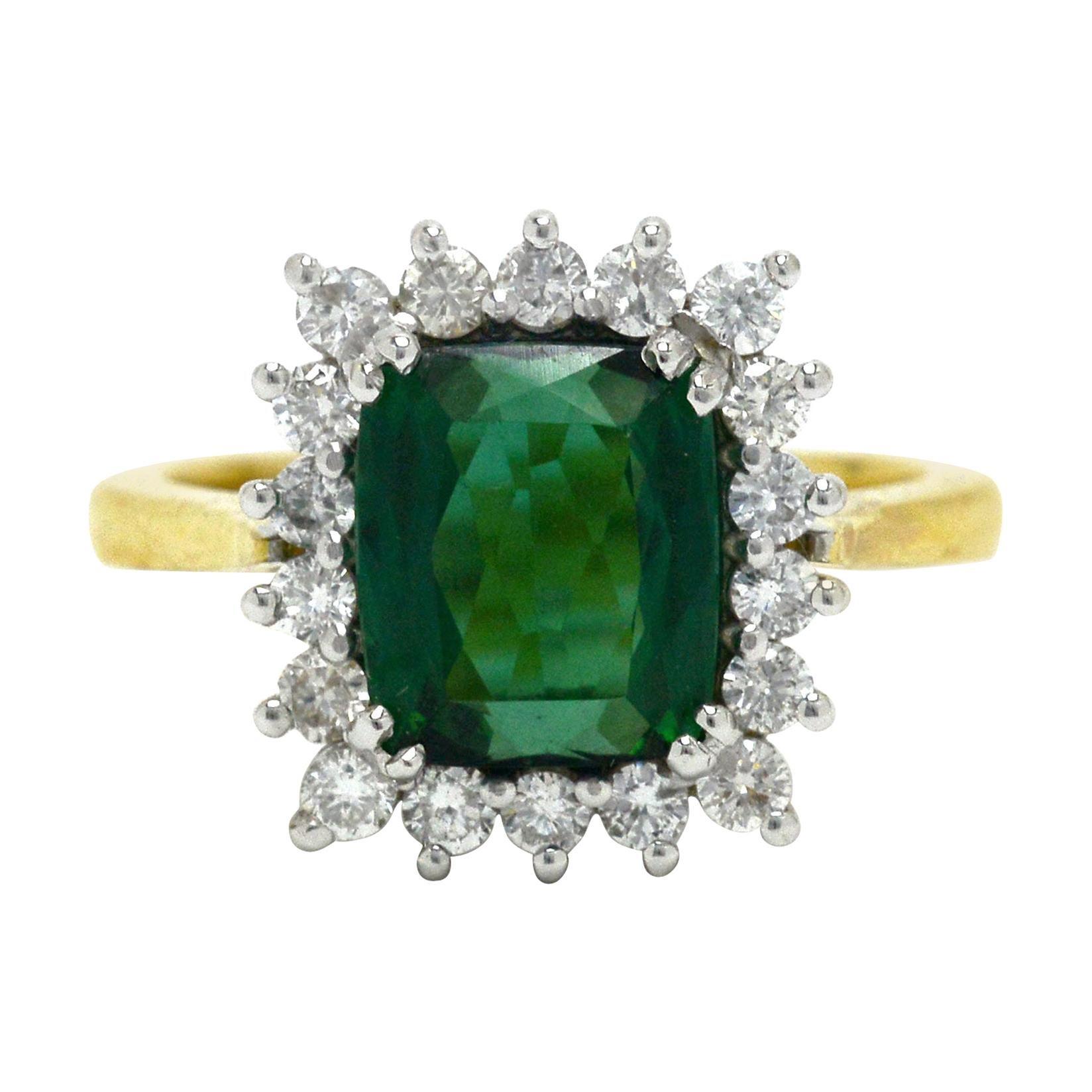 Vivid Green Tourmaline Engagement Ring Cocktail Gemstone 4 Carat Diamond Halo