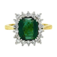 Vivid Green Tourmaline Engagement Ring Cocktail Gemstone 4 Carat Diamond Halo
