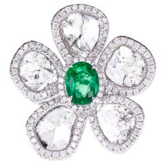 Vivid Green Zambian Emerald with Salt and Pepper Slice Diamond