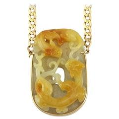 Vivid Natural Yellow Jadeite Jade Double Dragon Carving Necklace by Mason-Kay