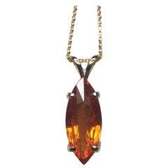Vivid Orange 4.17 Carat Spessartine Garnet Marquise Cut Yellow Gold Pendant