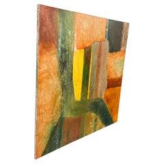 Vivid Orange Abstract Cubist Oil on Canvas Painting Signed C Martin Tschaen 88