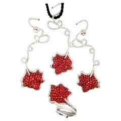 Ambrosi Vivid Orange Sapphire Diamond Set in 18 Karat White Gold