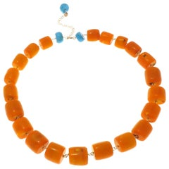 Vivid Orange Stones Turquoise 9 Karat Rose Gold Necklace Handcrafted in Italy