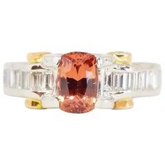 Vivid Pink Peach Orange Unheated  NatFancy Sapphire Baguette Diamond Ring PT 18K