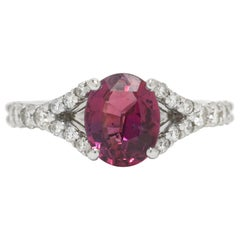 Vivid Pink Sapphire Ring Gemstone 18 Karat White Gold Double Diamond Band