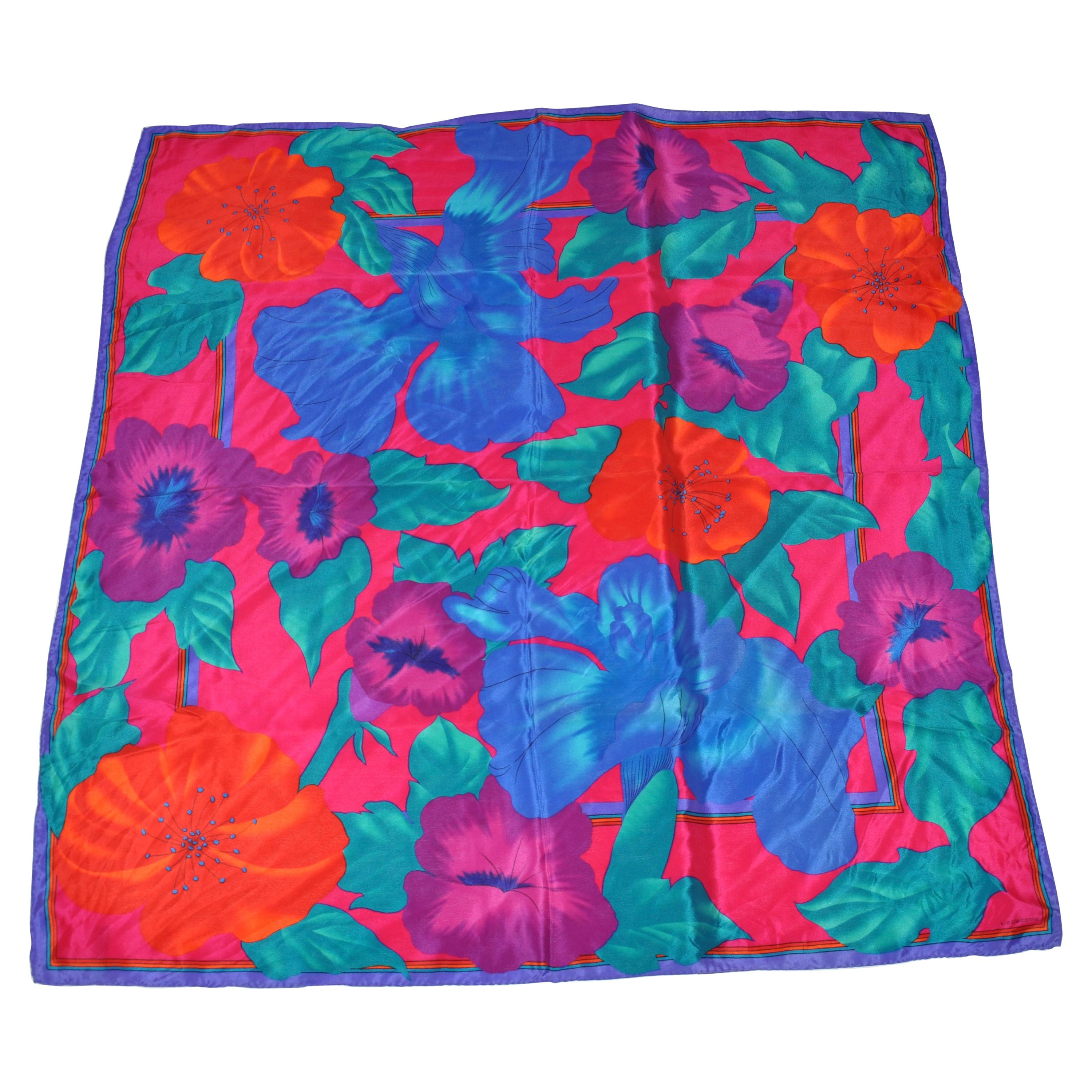 Vivid Poppies & Orchids With Violet Borders Silk Scarf