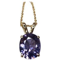 Vivid Purple Blue 2.08Ct Spinel Fancy Oval Cut 14 Karat Gold Pendant Necklace