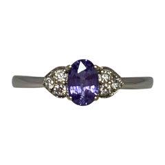 Vivid Purple Oval Cut Sapphire and Diamond White Gold Ring