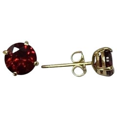 Vivid Red Almandine 1.20 Carat Yellow Gold Round Diamond Cut Earring Studs
