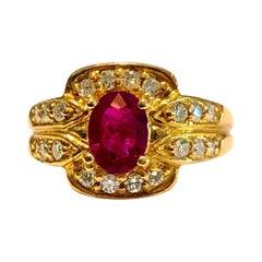 Vivid Red Ruby and Diamonds Ring 18 Karat Rose Gold
