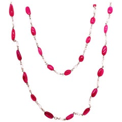 Vivid Red Ruby Beads and Diamond Briolette White Gold Necklace