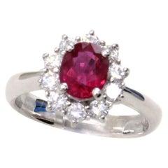 Vivid Red Ruby Diamond Platinum Engagement Ring