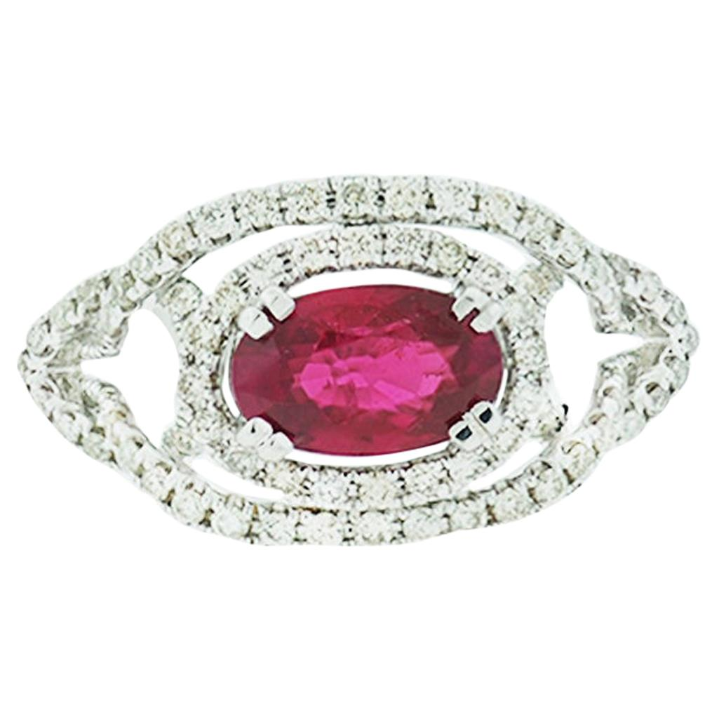 Vivid Red Ruby Diamond Solitaire Ring 2.08 Carat