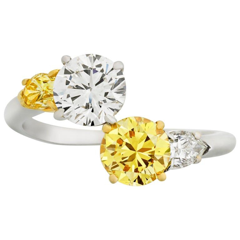 Vivid Yellow and White Diamond Bypass Ring, 1.94 Carat For Sale