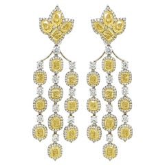 Vivid Yellow and White Diamond Chandelier Earrings