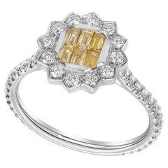 Vivid Yellow Diamond Baguette Cocktail Ring